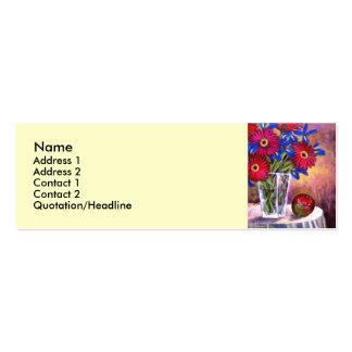 Gänseblümchen-Iris-Blumen-Vasen-noch Leben-Kunst - Visitenkarten