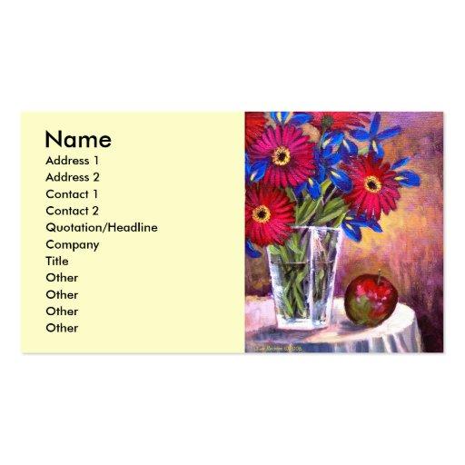 Gänseblümchen-Iris-Blumen-Vasen-noch Leben-Kunst - Visitenkartenvorlage