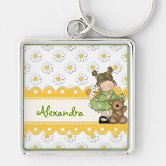 Gänseblümchen-Kleinkind und Teddybär Silberfarbener Quadratischer Schlüsselanhänger