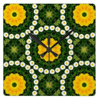 Gänseblümchen-Natur, Blume-Mandala 002 02 Quadratische Wanduhr