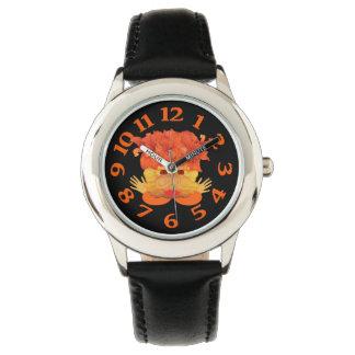 Gänseblümchen-Orangen-Krabbe Armbanduhr