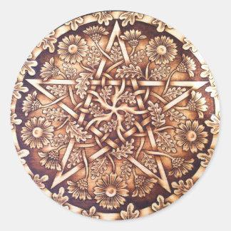 Gänseblümchen-Pentagramm-Aufkleber Runder Aufkleber