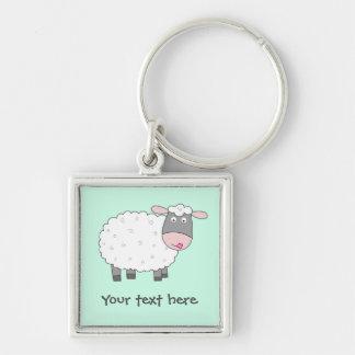 Gänseblümchen-Schafe Silberfarbener Quadratischer Schlüsselanhänger