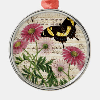 Gänseblümchen Schmetterlings-Musik Rundes Silberfarbenes Ornament