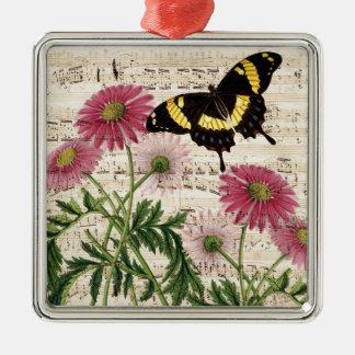 Gänseblümchen Schmetterlings-Musik Silbernes Ornament