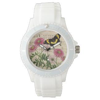 Gänseblümchen-Schmetterlings-Musik Uhr