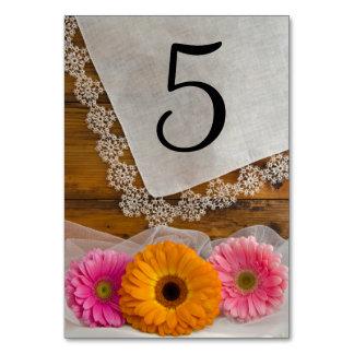 Gänseblümchen-Trio und Spitze-Land-Wedding Karte