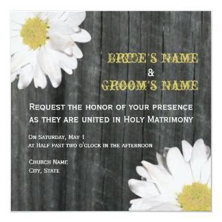 Gänseblümchen-u. Barnwood Hochzeits-Einladung Quadratische 13,3 Cm Einladungskarte