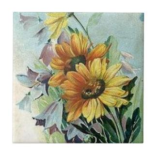 Gänseblümchen und Bluebells Keramikfliese