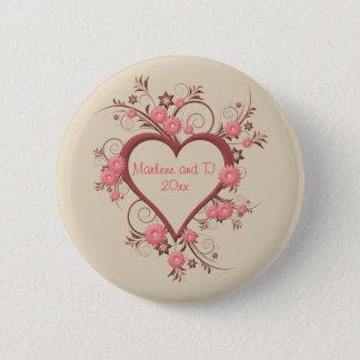 Gänseblümchen und offenes Herz in rosa Runder Button 5,1 Cm