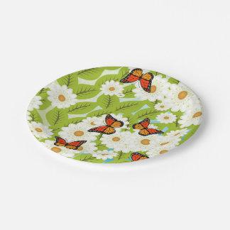 Gänseblümchen und Schmetterlinge Pappteller