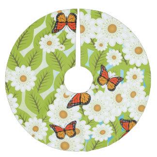 Gänseblümchen und Schmetterlinge Polyester Weihnachtsbaumdecke