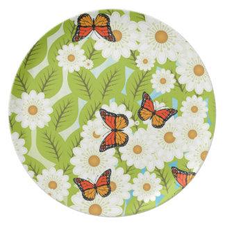 Gänseblümchen und Schmetterlinge Teller