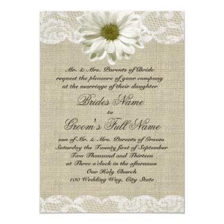 Gänseblümchen-und Spitze-Land-Leinwand-Hochzeit 12,7 X 17,8 Cm Einladungskarte
