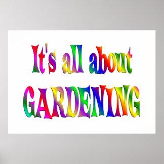 Ganz über die Gartenarbeit Plakatdruck