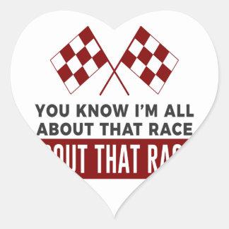 Ganz über diesen Rennen-Rennwagen-Stromkreis Herz-Aufkleber