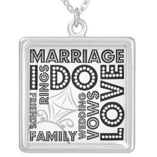 Ganz über Hochzeits-Sterlingsilber-Halskette Halskette Mit Quadratischem Anhänger