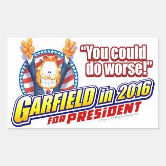 Garfield für Präsidenten im Jahre 2016 Rechteckiger Aufkleber
