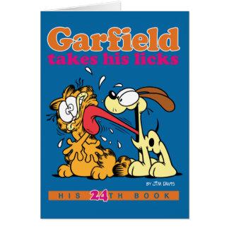 Garfield nimmt seins leckt Anmerkungs-Karte Grußkarte