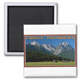Garmisch - das Zugspitze und das Alpspitze Quadratischer Magnet