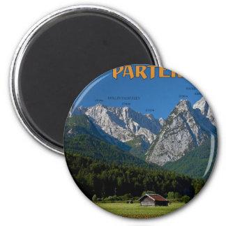 Garmisch - das Zugspitze und das Alpspitze Runder Magnet 5,7 Cm