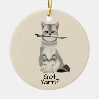 """Garn-"""" Katze der Typografie-  """"erhielt mit Keramik Ornament"""