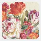 Garten-Ansicht warf Blumen Quadratischer Aufkleber