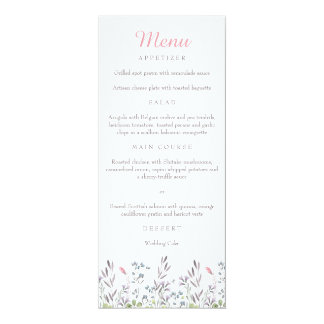 Garten-Aquarell-Blumenmenü 10,2 X 23,5 Cm Einladungskarte