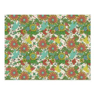 Garten-Charme 7: Vintages Schmetterlingsgelbrosa Postkarte