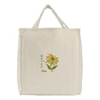 Garten-Diva - gelbe Blume Bestickte Tasche
