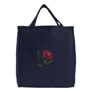 Garten-Diva - rosa Blume Bestickte Einkaufstaschen