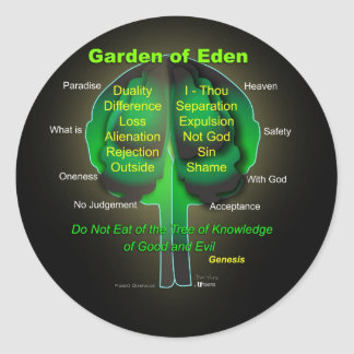 Garten Eden Runder Aufkleber
