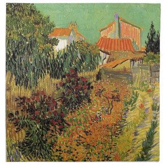 Garten hinter einem Haus.  Vincent van Gogh. Stoffserviette