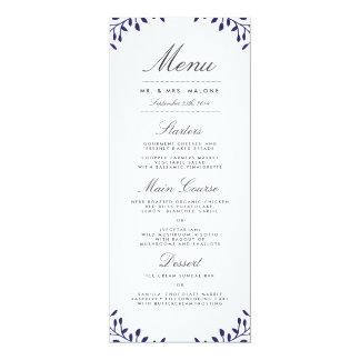 Garten-Hochzeits-Abendessen-Menü - Marine 10,2 X 23,5 Cm Einladungskarte