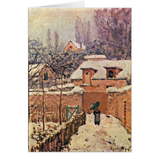Garten in Louveciennes, Winter durch Alfred Sisley Grußkarte