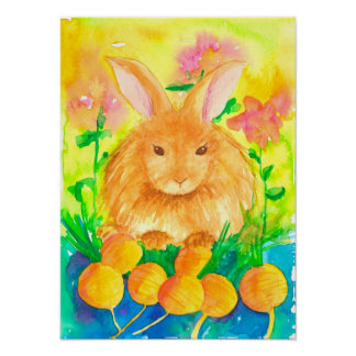 Garten-Kaninchen-Karottenwatercolor-Blumen Poster