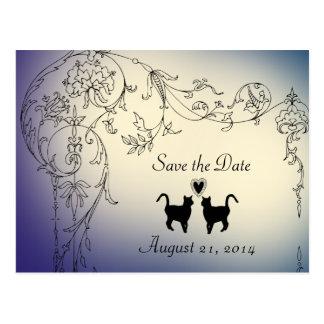 Garten-Katzen-Liebhaber Save the Date Postkarten