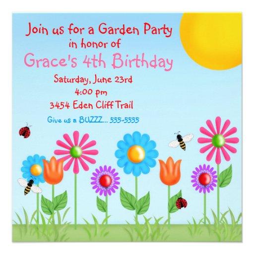 Garten-Party-Marienkäfer-Geburtstags-Einladungen
