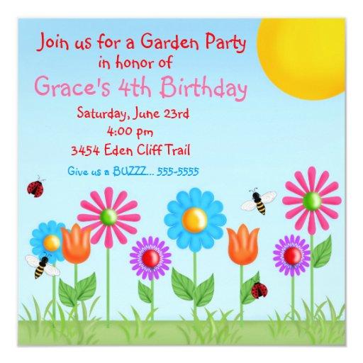 Garten-Party-Marienkäfer-Geburtstags-Einladungen Quadratische 13,3 Cm Einladungskarte