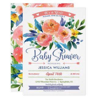 Garten-Pfingstrosen-Babyparty-Mädchen-Einladung 12,7 X 17,8 Cm Einladungskarte