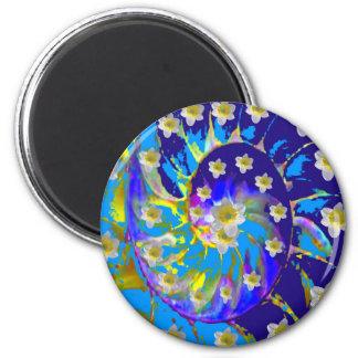 GARTEN-SPIRALE U. NARZISSEN IN DEN BLUES RUNDER MAGNET 5,7 CM