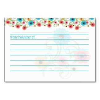 Garten-Tee-bunte Blumen-Rezept-Karte