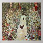 Garten-Weg mit Hühnern, Klimt, Kunst Nouveau Poster