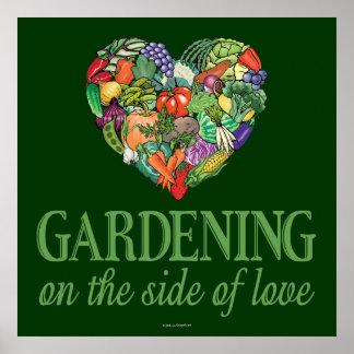 Gartenarbeit auf der Seite der Liebe Poster