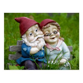 Gartengnomes-Paar-Postkarte Postkarte