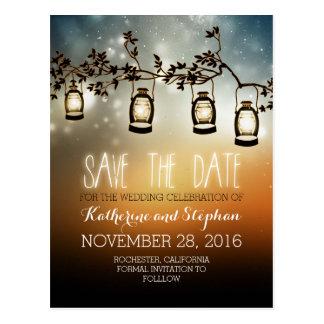 Gartenlichter - Laternen rustikal Save the Date Postkarte