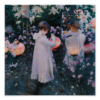 Gartennelke, Lilie, Lilie, Rose durch John-Sänger Poster