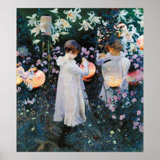 Gartennelke, Lilie, Lilie, Rose - John-Sänger Sarg Plakatdruck