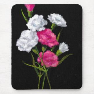 Gartennelken: Blumen: Rosa und Weiß auf Schwarzem Mousepad