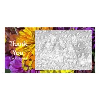 Gartenzinnia-Blumen danken Ihnen Foto-Karte Karte